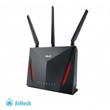 Asus Router RT-AC86U 802.11ac, 750+2167 Mbit/s, 10/100/1000 Mbit/s, Ethernet LAN (RJ-45) ports 4, Mesh Support Yes, MU-MiMO Yes, 3G/4G via optional USB adapter, Antenna type 1xInternal/3xExternal, 1xUSB 2.0 /1xUSB 3.0, AiProtection Powered by Trend Micro,