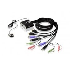 Aten 2-Port USB HDMI/Audio Cable KVM Switch with Remote Port Selector
