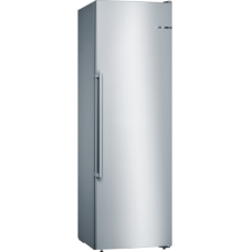 Bosch Šaldiklis GSN36AIEP Energy efficiency class E, Free standing, Upright, Height 186 cm, No Frost system, Display, 39 dB, Stainless steel