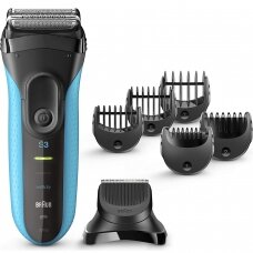 Braun Barzdaskutė with trimmer Series 3 Shave&Style 3010BT Cordless, Charging time 1 h, Operating time 45 min, Wet use, NiMH, Number of shaver heads/blades 2, Black/Mėlyna
