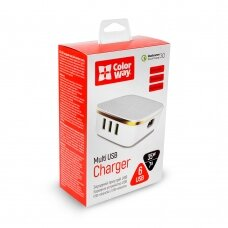 ColorWay AC Charger Multi USB Charger 6 x USB Type-A, 1 QC 3.0 + 5 AUTO ID, Fast charging, White, 5 V, 35 W, 7.0 A