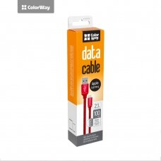 ColorWay Data Cable Apple Lightning Charging cable, Fast and safe charging; Stable data transmission, Red, 1 m