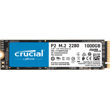 Crucial SSD P2 1000 GB, SSD form factor M.2 2280, SSD interface PCIe NVMe Gen 3.0 x 4, Write speed 1800 MB/s, Read speed 2400 MB/s