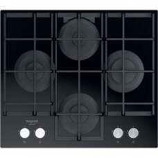 Hotpoint Viryklė HAGS 61F/BK Gas on glass, Number of burners/cooking zones 4, Mechanical, Black