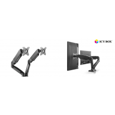 ICY BOX IB-MS304-T, Monitor stand with desk mounted base, for two screens, size up to 27''