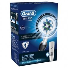 Oral-B Toothbrush PRO 750 For adults, Rechargeable, Operating time 2 min, Teeth brushing modes 1, Number of brush heads included 1, Black