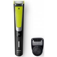 Philips OneBlade Pro Barzdaskutė QP6505/21 Wet & Dry Yes, Black/Green, Number of shaver heads/blades 2, Cord or Cordless