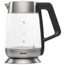 Tristar Virdulys WK-3375 With electronic control, Glass, Stainless steel/Black, 2200 W, 360° rotational base, 1.8 L