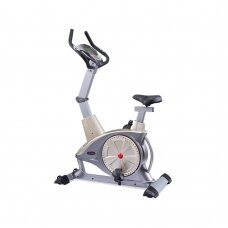 WNQ F1-7318LC ECB Semi-Commercial Upright Bike, ECB motor permanent magnetic resistance system, 130 kg, Silver Grey, 5 '' LCD blue screen, 10 exercise modes: Manual; Interval; Fluctuation; Weightlessness; Inclination running; Climbing; Fat burning; Racing
